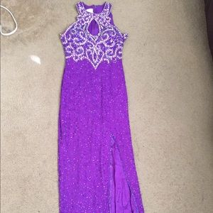 Alyce designer purple beaded silk gown.